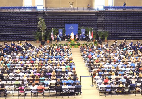 Students attending UNC Asheville's convocation ceremony